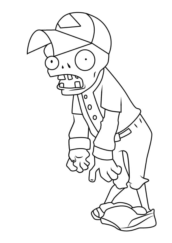 Baseball Zombie Coloring Page