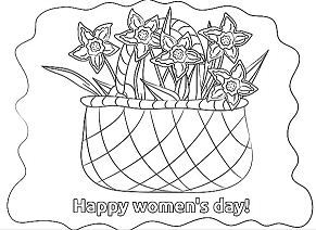 Basket Flowers Women s Day Coloring Page