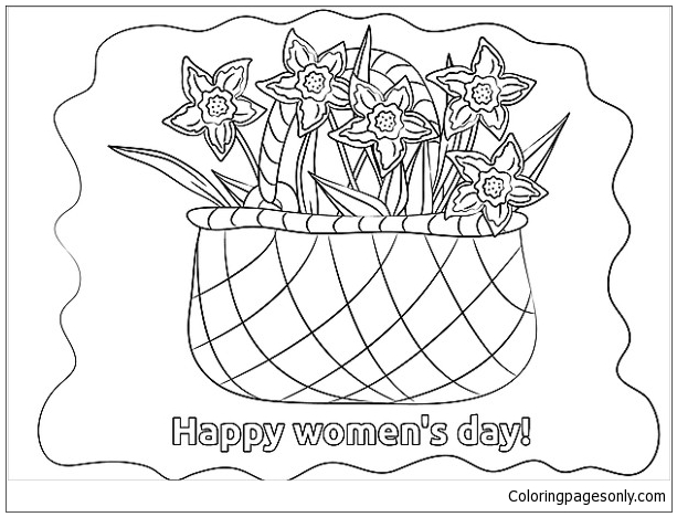 Basket Flowers Women S Day Coloring Pages Womens Day Coloring Pages Free Printable Coloring Pages Online