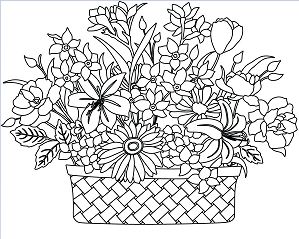 Basket Flowers Coloring Page