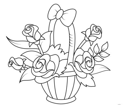 Basket with Roses Coloring Page