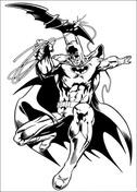 Batman throwing batarang knife from Batman Coloring Page