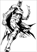 Batman holding boomerang from Batman Coloring Page
