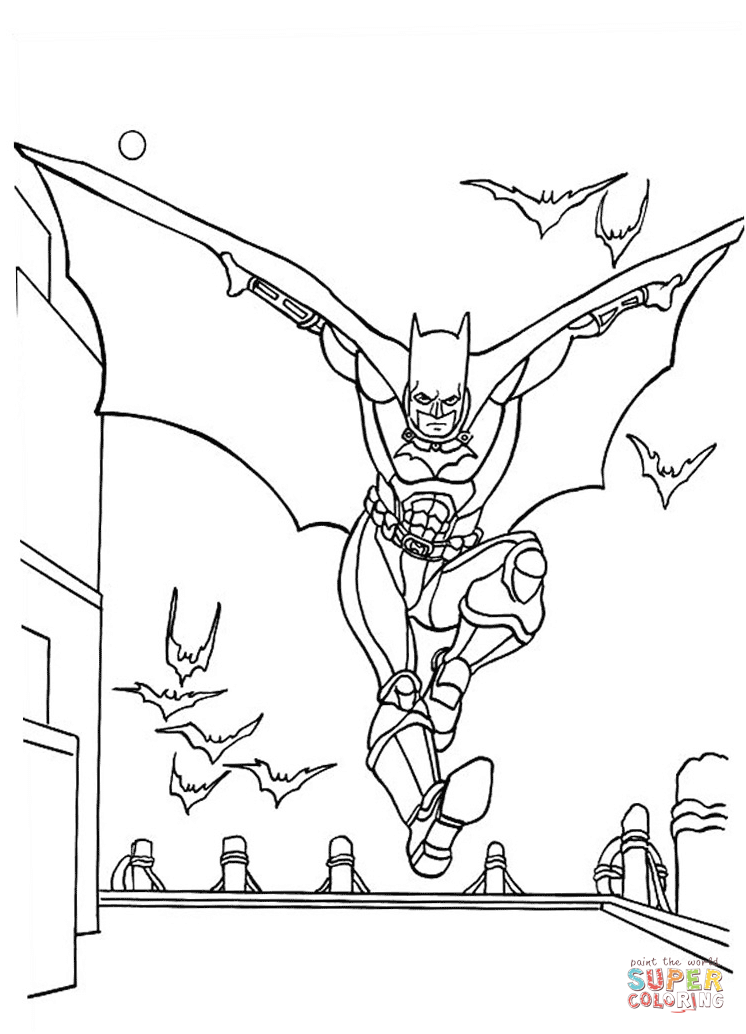 Batman Flying With Bats From Batman Coloring Page