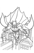 Batman Flying down the Street from Batman Coloring Page