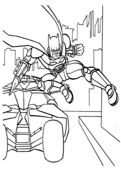 Batman Jumps out of His Car from Batman Coloring Page