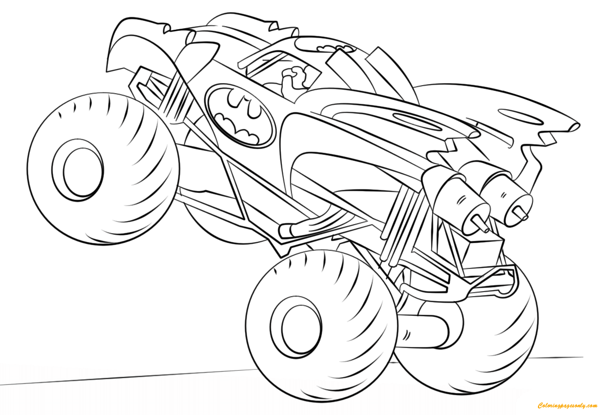 Batman Monster Truck Coloring Page - Free Coloring Pages Online
