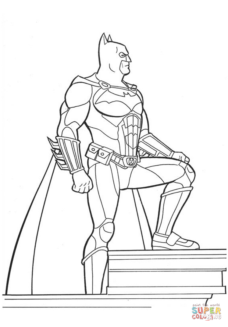 Batman On The Top Of Building From Batman Coloring Page