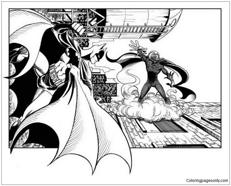 Batman vs Mysterio Coloring Page - Free Coloring Pages Online
