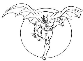 Batman with wings Batman running Coloring Page