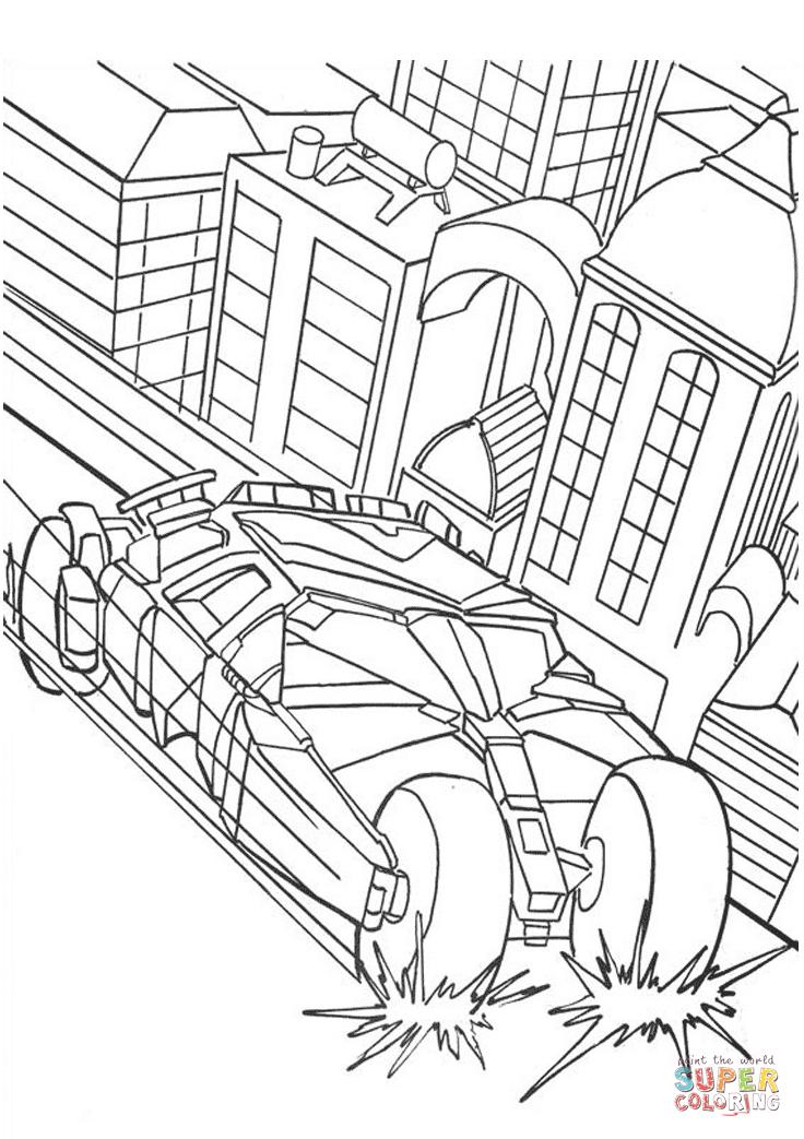 Batman's Car From Batman Coloring Page