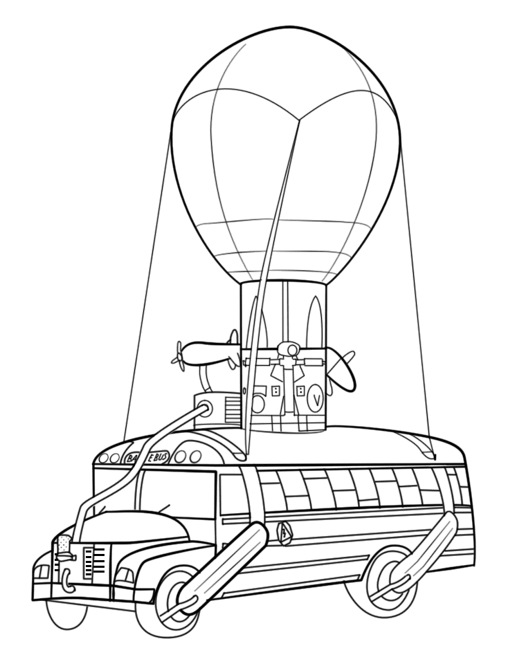 Battle Bus is an aerial vehicle in Fortnite Battle Royale Coloring Page
