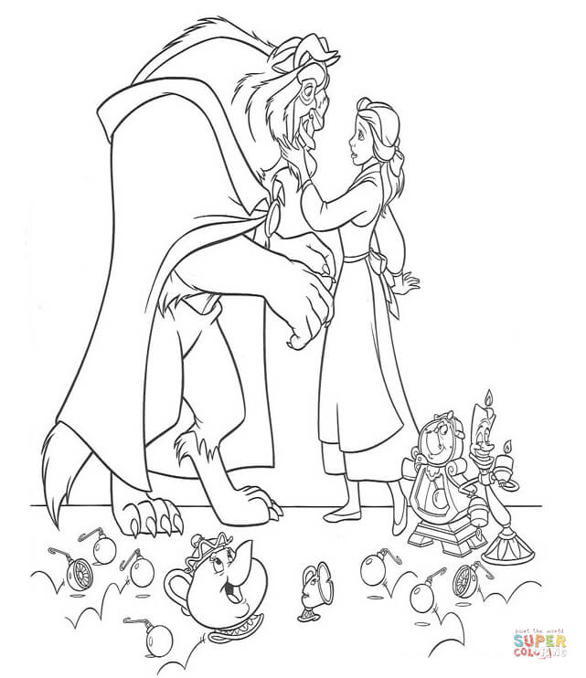 Belle And Beast From Beauty And The Beast Coloring Page