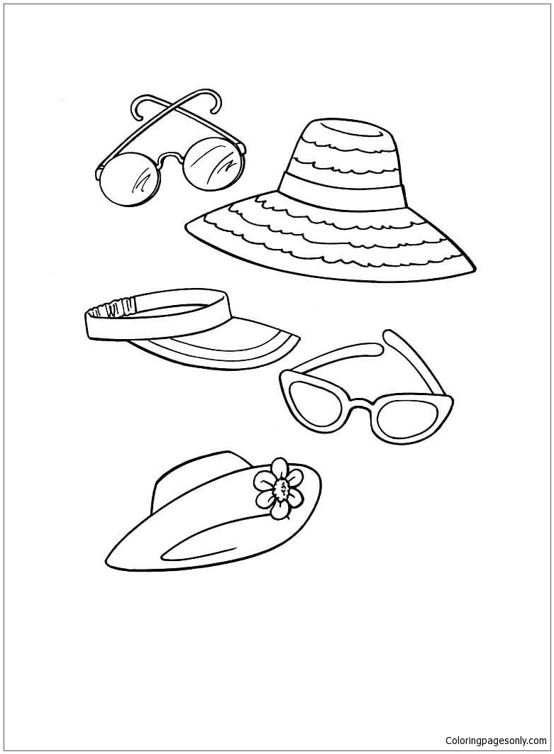 Beach Accessories For Everyone Coloring Page