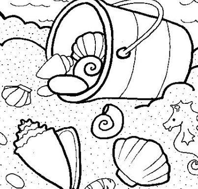 Beach And Sea Shell Coloring Page