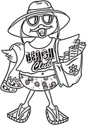 Beach Bird Costume Coloring Page