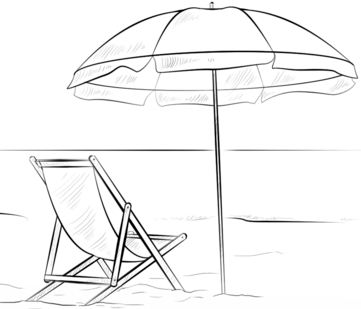 Beach Chair And Umbrella Coloring Page