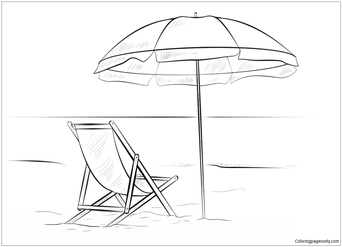 Beach Chair And Umbrella Coloring Page - Free Coloring Pages ...