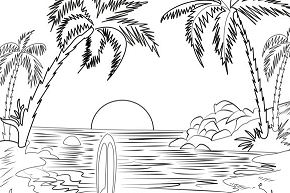 Beach Scene 5 Coloring Page