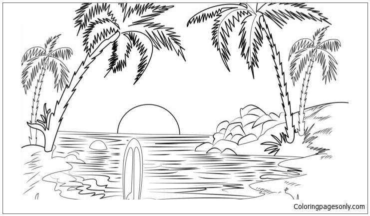 Beach Scene 5 Coloring Pages