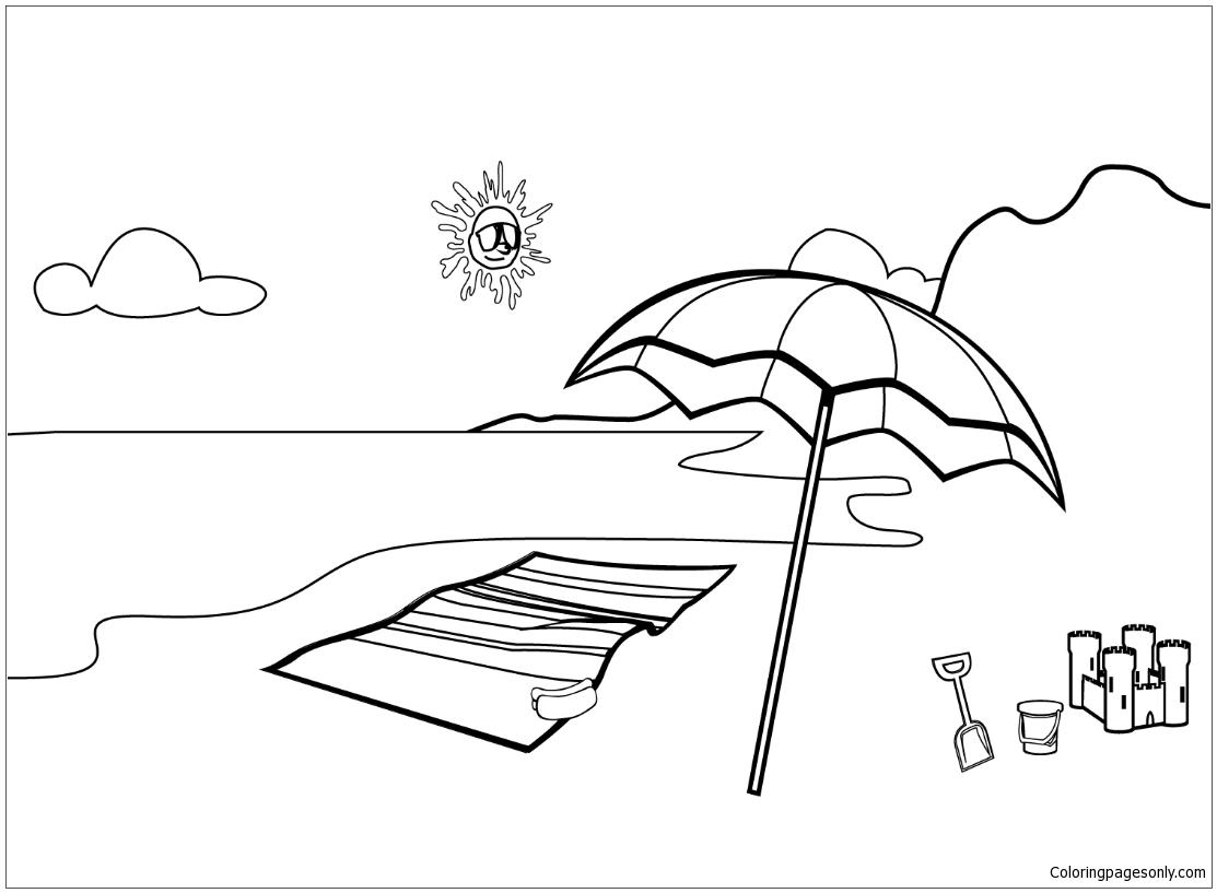 Beach Scene 1 Coloring Page