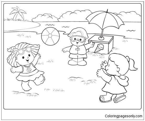 Beach Scene 2 Coloring Pages