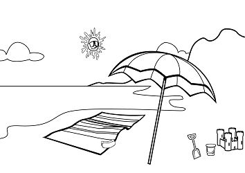 Beach Theme  Coloring Page