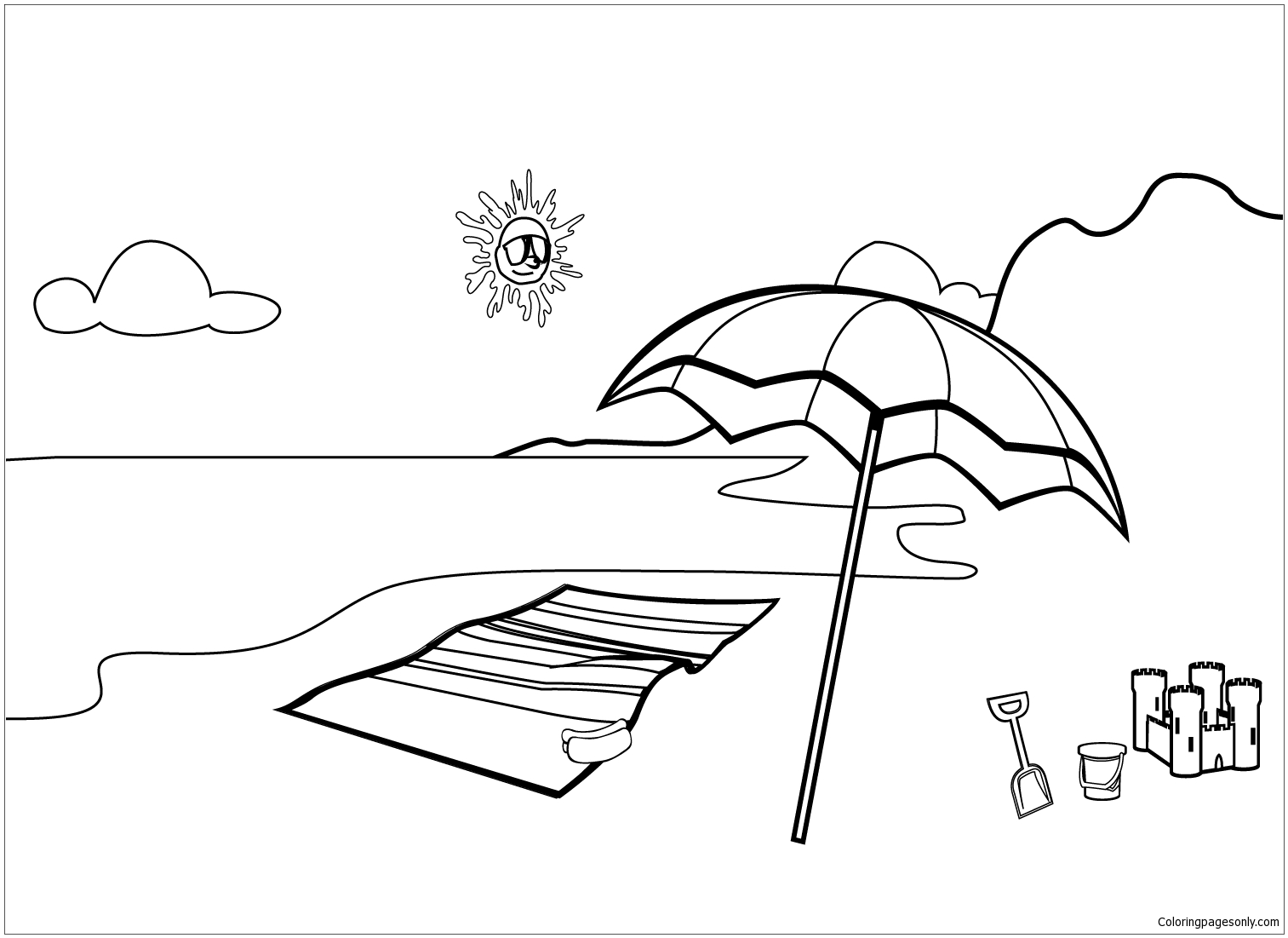 Beach Theme Coloring Page - Free Coloring Pages Online