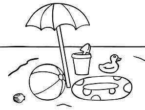 Beach Toys Umbrella Coloring Page