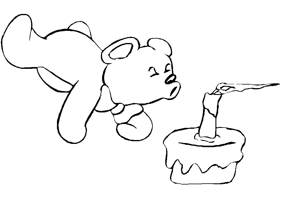 Bear Blow The Candle Coloring Page