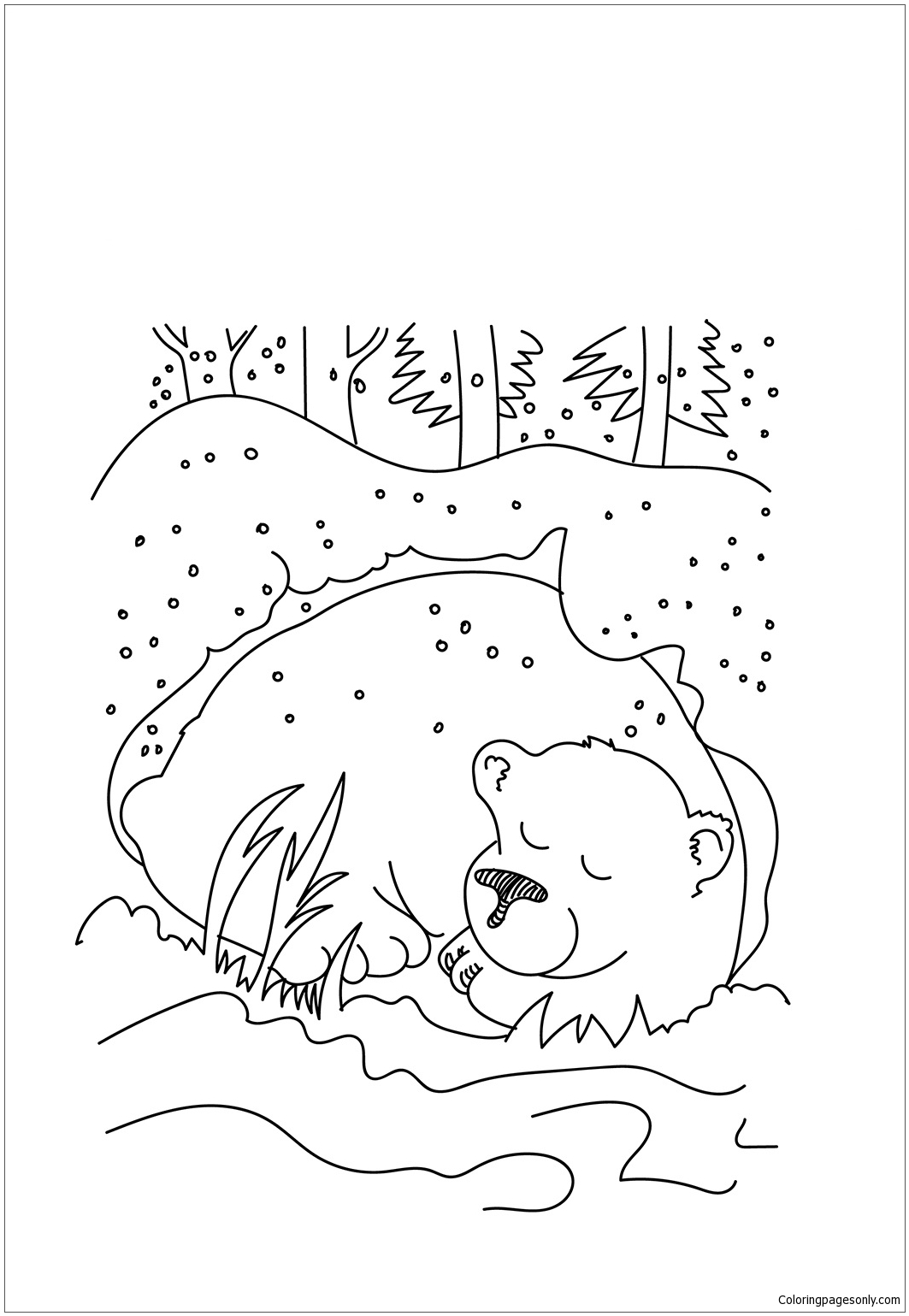 Bear Hibernating Coloring Page