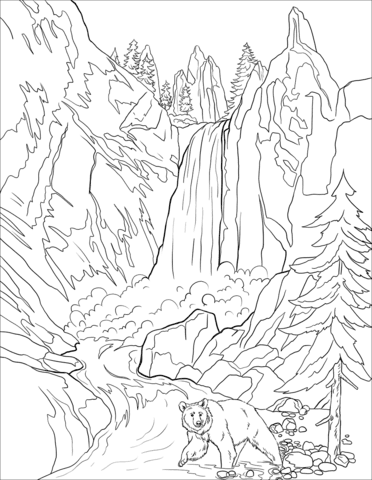 Bear near the waterfall Coloring Page