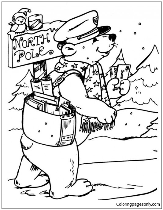 Bear Postman Delivering Letters To North Pole Coloring Page