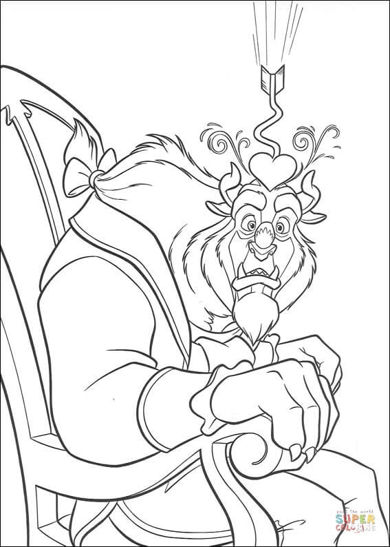 Beast Falling In Love  From Beauty And The Beast Coloring Page