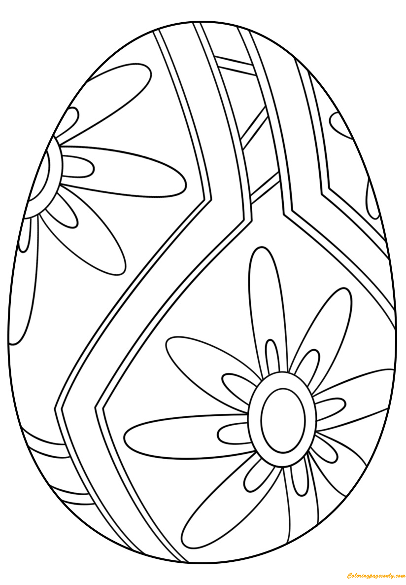 Beautiful Easter Egg Flower Pattern Coloring Page Free