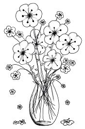 Beautiful flower Vases Coloring Page