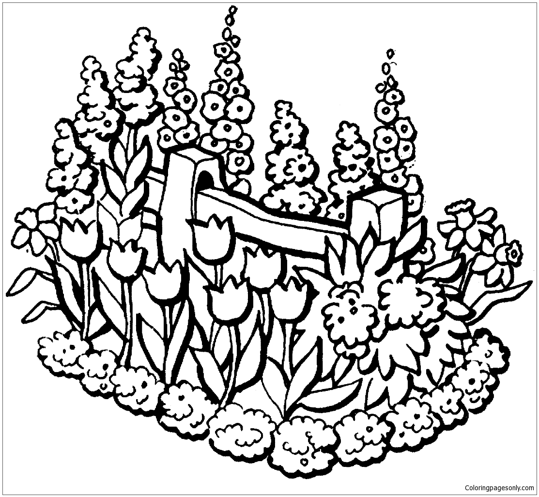 Beautiful Garden In Summer Coloring Page
