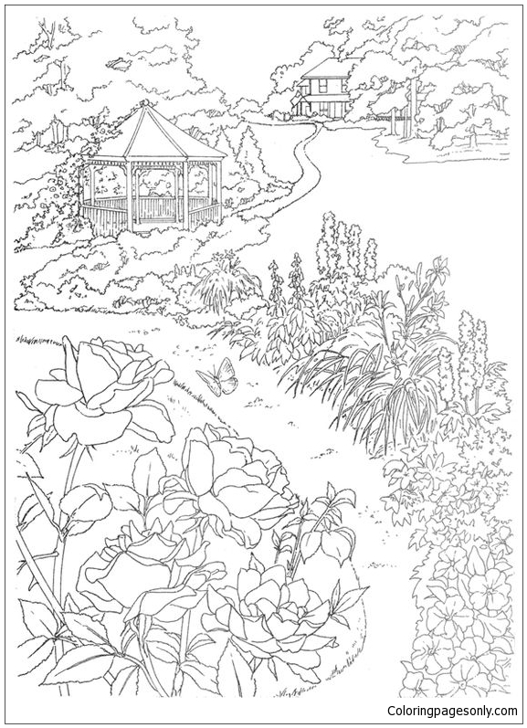 garden winter coloring pages | Beautiful Garden Coloring Page - Free Coloring Pages Online