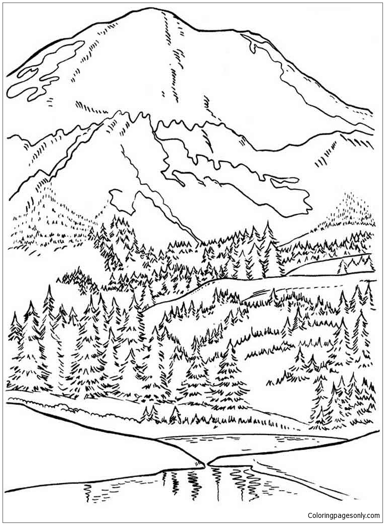 Beautiful Mountain  Coloring Page