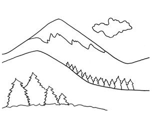 Beautiful Mountains Coloring Page