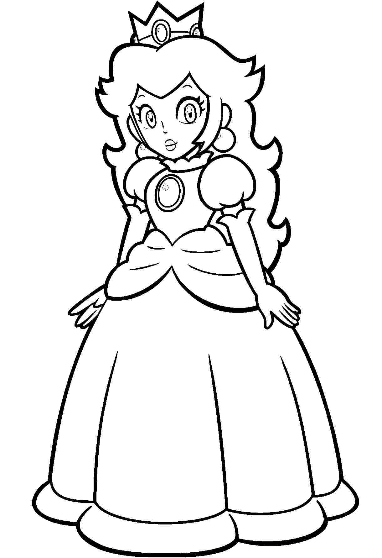 Beautiful Princess Peach from Super Mario Games Coloring Page