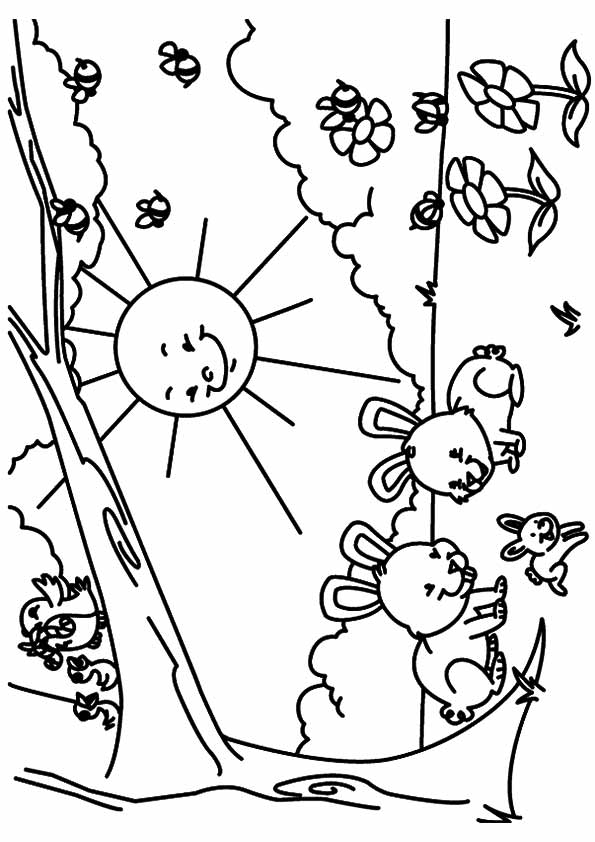 Beautiful Rabbits Playing in Spring Coloring Page