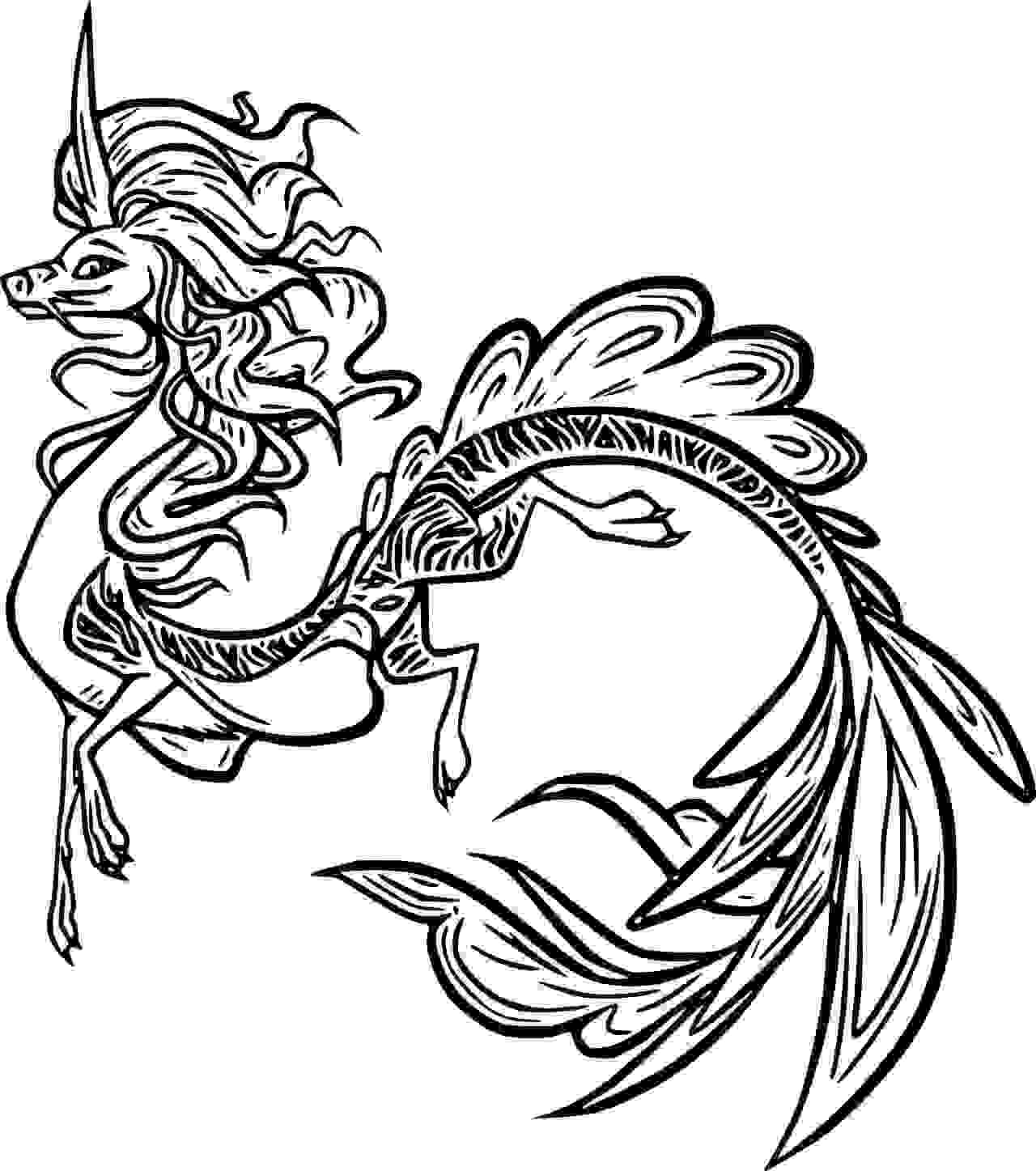 Beautiful Sisu Dragon from Raya and the Last Dragon Coloring Page