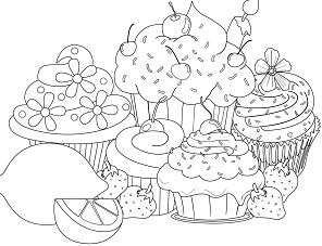 Beautiful Sweet Cupcake Coloring Page