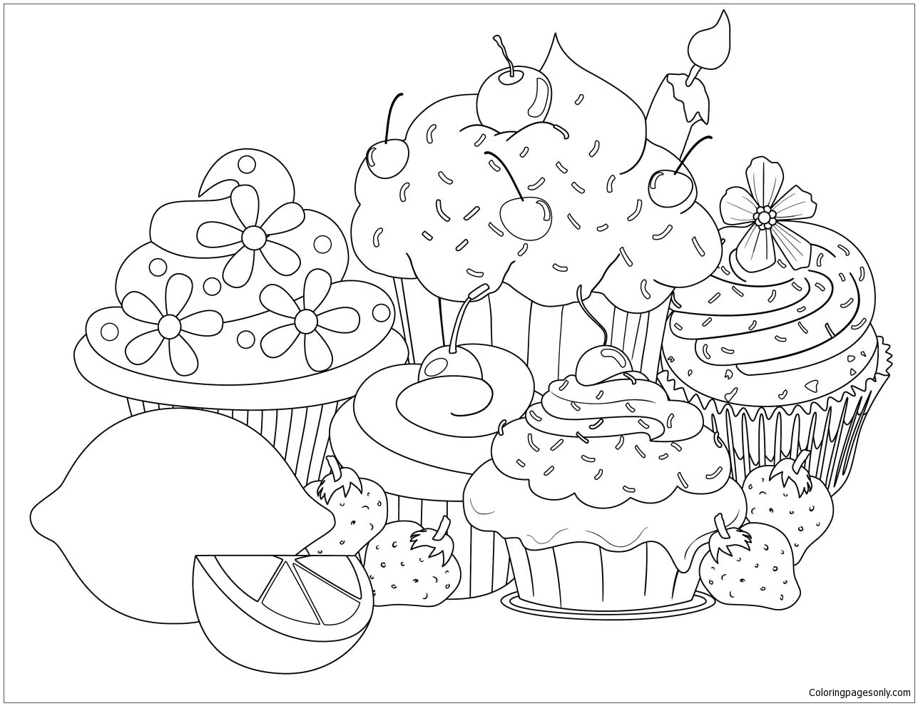 Beautiful Sweet Cupcake Coloring Page Free Coloring