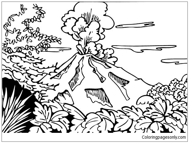 Beautiful View Of Volcano Coloring Page