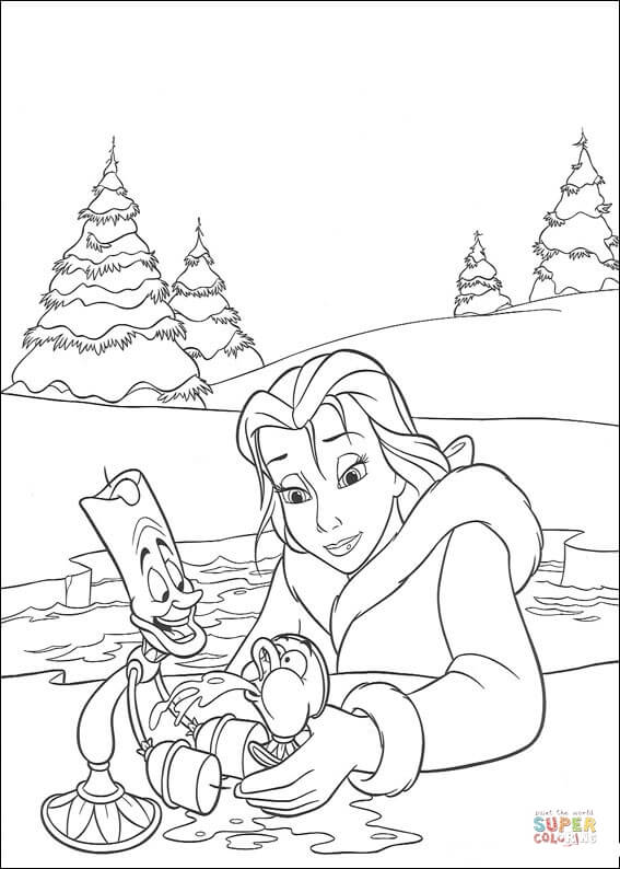 Belle And Lumière From Beauty And The Beast Coloring Page