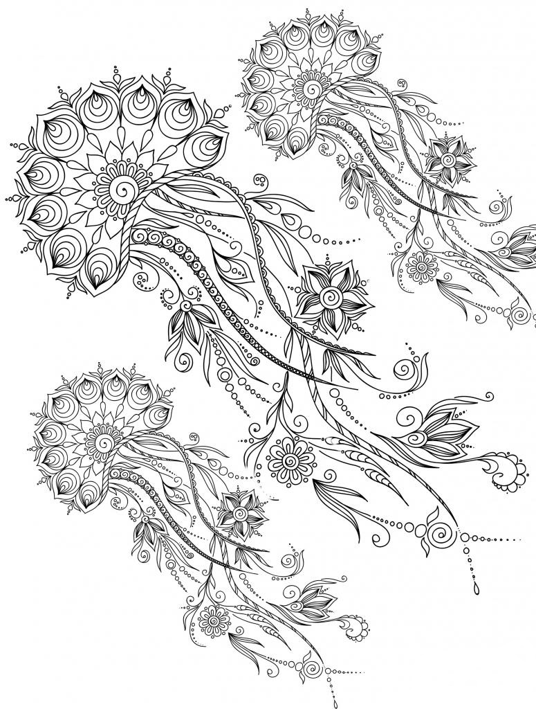 Beauty Of Jelly Fish Coloring Page