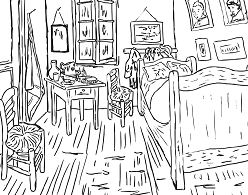 Bedroom at Arles By Vincent Van Gogh Coloring Page