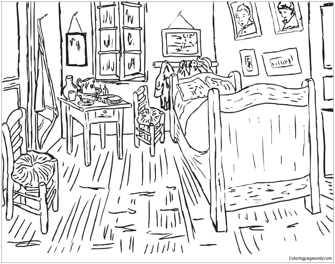 Bedroom at Arles By Vincent Van Gogh Coloring Page - Free Coloring ...